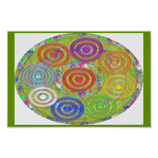 Nine 3D Rainbow Colorful Wheel Collection Poster