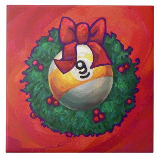 Nine Ball in Christmas Wreath on Red Ceramic Tile