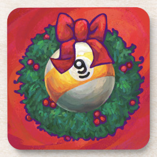 Nine Ball in Christmas Wreath on Red Coaster