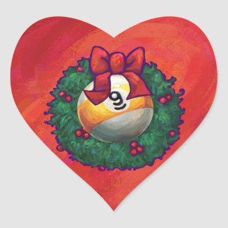 Nine Ball in Christmas Wreath on Red Heart Sticker