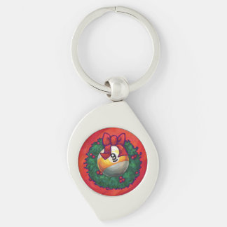 Nine Ball in Christmas Wreath on Red Keychain