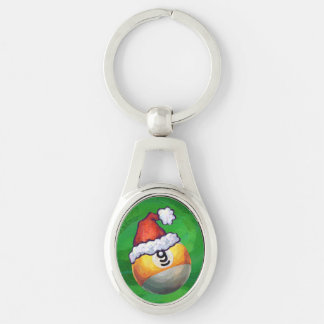Nine Ball in Santa Hat on Green Keychain