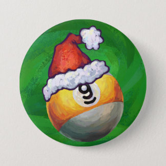 Nine Ball in Santa Hat on Green Pinback Button