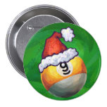 Nine Ball in Santa Hat on Green Pinback Button