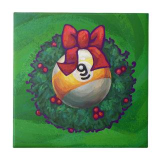 Nine Ball in Wreath on Green Tile