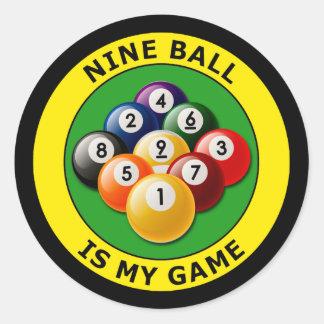 NINE BALL IS MY GAME CLASSIC ROUND STICKER