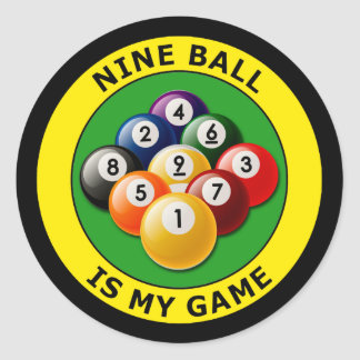 NINE BALL IS MY GAME ROUND STICKERS