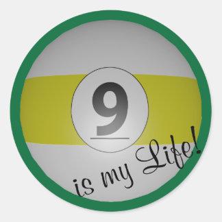 Nine Ball is my Life Classic Round Sticker