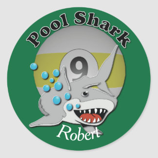 Nine Ball Pool Shark Classic Round Sticker