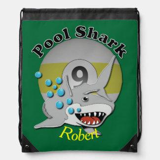Nine Ball Pool Shark Drawstring Backpack