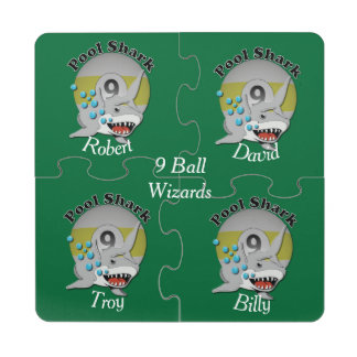 Nine Ball Pool Shark Puzzle Coaster