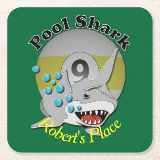 Nine Ball Pool Shark Square Paper Coaster