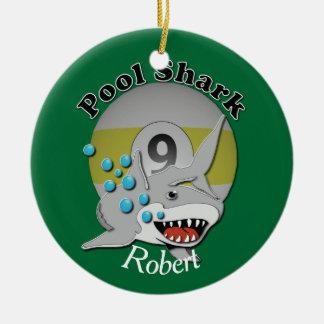 Nine Ball Pool Shark with Name Ceramic Ornament