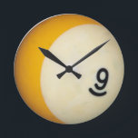 "Nine Ball Round Clock<br><div class=""desc"">The 9 ball from the billiards table.</div>"