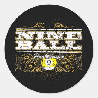 Nine Ball Vintage Design Classic Round Sticker