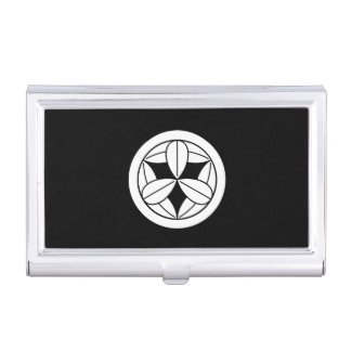 Nine bamboo leaves in circle business card case