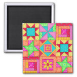 Nine Block Quilt Patchwork Blocks Art 2 Inch Square Magnet
