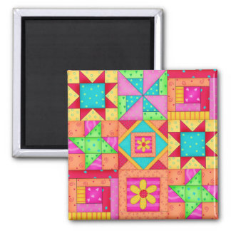 Nine Block Quilt Patchwork Blocks Art Magnet