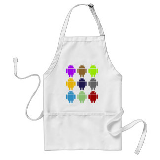 Nine Bug Droids (Android Multiple Colors Humor) Adult Apron