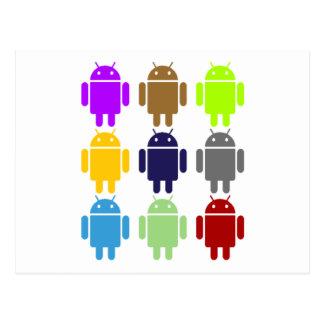 Nine Bug Droids (Android Multiple Colors Humor) Postcard