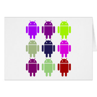 Nine Bug Droids (Android Multiple Purple Colors) Card
