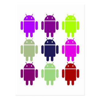 Nine Bug Droids (Android Multiple Purple Colors) Postcard
