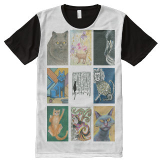 Nine Cats Multiple Artists Illustration All-Over-Print Shirt