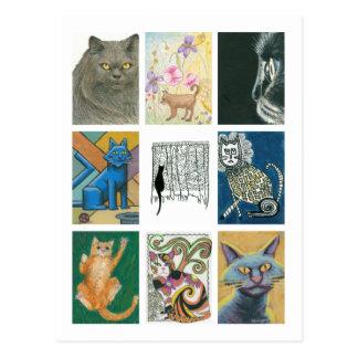 Nine Cats Multiple Artists Illustration Postcard
