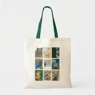 Nine Cats Multiple Artists Illustration Tote Bag