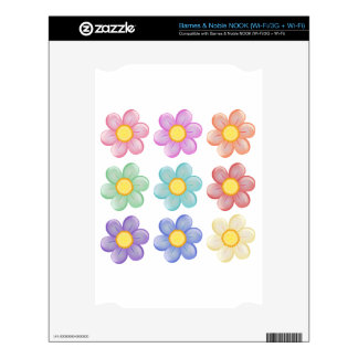 Nine colorful flowers decal for NOOK