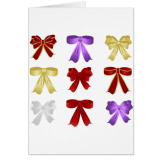 Nine colourful bows card