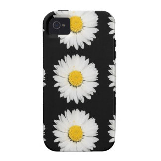 Nine Common Daisies Isolated on A Black Backgound Vibe iPhone 4 Covers