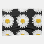 Nine Common Daisies Isolated on A Black Backgound Hand Towels