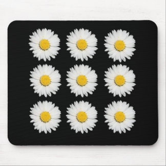Nine Common Daisies Isolated on A Black Backgound Mouse Pad