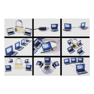 Nine computer images on white background poster