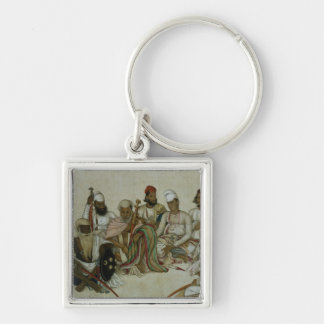 Nine courtiers and servants of the Raja Silver-Colored Square Keychain