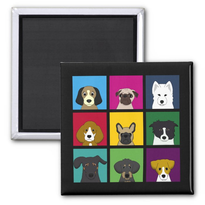 Nine Dogs 2 Inch Square Magnet