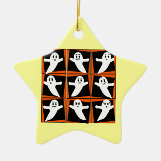 Nine Ghosts Pop Art Halloween Tee and Gifts Ceramic Ornament