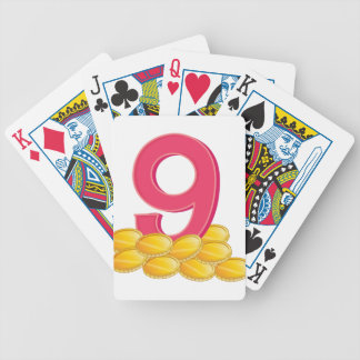 Nine gold coins bicycle playing cards