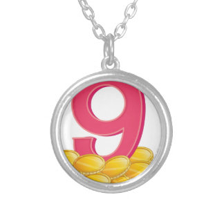 Nine gold coins round pendant necklace