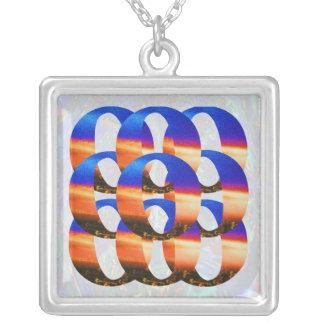 Nine Golden Blue Rings : Color Mania Square Pendant Necklace