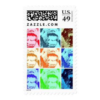 Nine Gorillas Digital Art Postage Stamps