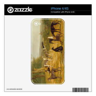 Nine Greyhounds in a Landscape (oil on canvas) Decal For The iPhone 4S