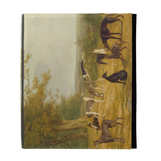 Nine Greyhounds in a Landscape (oil on canvas) iPad Cases