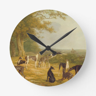 Nine Greyhounds in a Landscape (oil on canvas) Round Clock