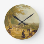 Nine Greyhounds in a Landscape (oil on canvas) Round Wall Clock