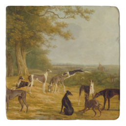 Nine Greyhounds in a Landscape (oil on canvas) Trivet