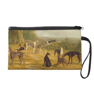 Nine Greyhounds in a Landscape (oil on canvas) Wristlet Purse