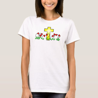 nine heart shaped flowers and bright cross t-shirt