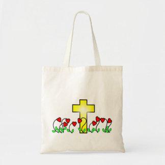 nine heart shaped flowers religious cross tote bag